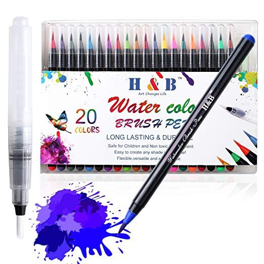 Femor Watercolor Brush Pens Set 20 Watercolor Paint Markers And 1