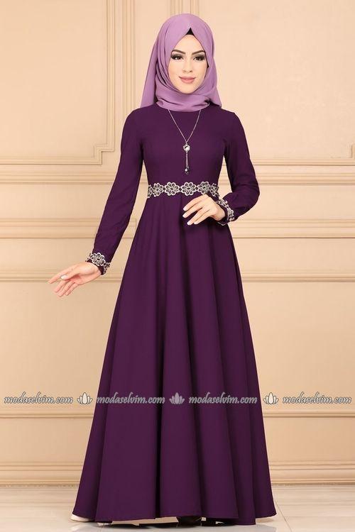 Modaselvim Elbise Gupuru Incili Kolyeli Elbise Pl895 Mor Fashion Hijab