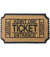 'Admit One' Ticket Shaped Vinyl Backed Doormat