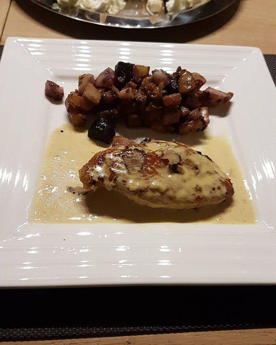 Pintade sauce foie gras truffé  légumes ancien confit au four ... c'est excellent ... #stopauxkilos #maigrir #perdredupoids #mangersain #bienmanger #regime #alimentation #regime2016 #goodfood