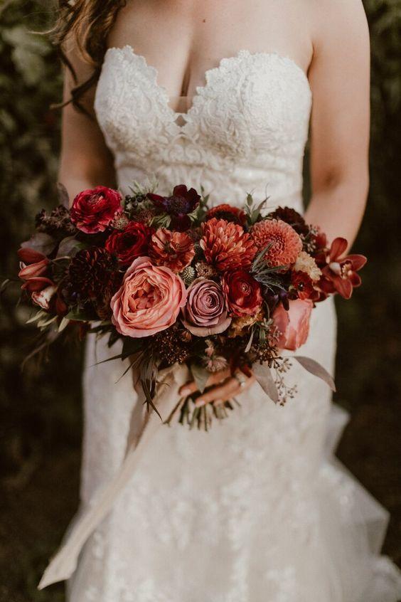 Inspirational burgundy and peach wedding Bridal Bouquets