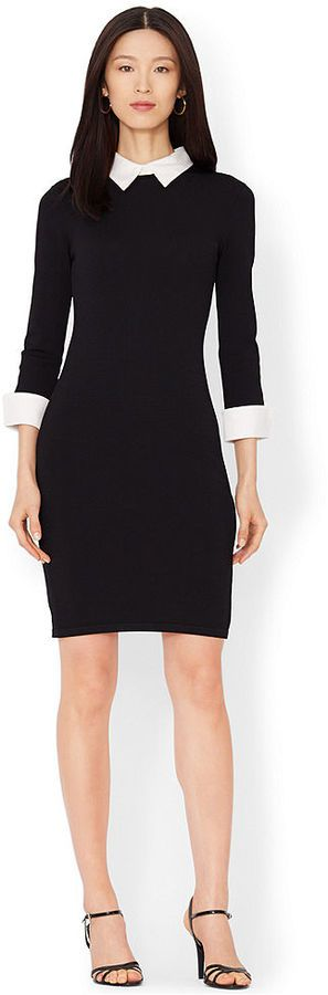 Lauren Ralph Lauren Three-Quarter-Sleeve Collared Sweater Dress - women\u0026#39;s fashion (black