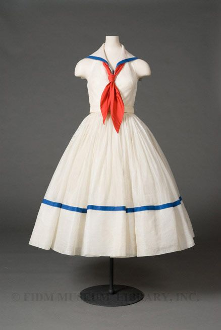Oh… my… sailor dress! | 1951 Norman Norell dress via FIDM #vintage #fashion: