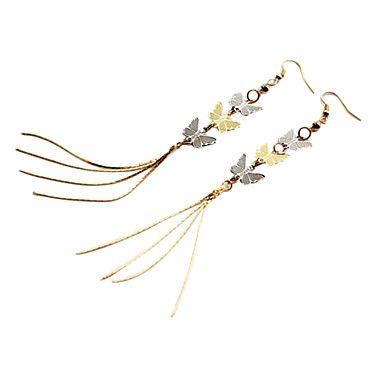 Corea moda pendientes largos de la borla de tres pendientes de la mariposa huecas E417 – CLP $ 1.230