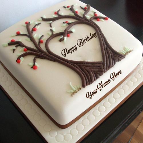 Outstanding Write Name On Tree Heart Shaped Birthday Cake Images Happy Funny Birthday Cards Online Benoljebrpdamsfinfo