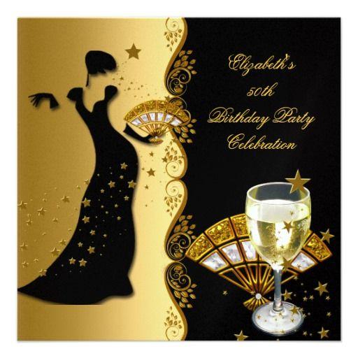 Elegant Lady 50th Birthday Party Gold Black Wine Invite