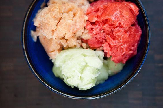Strawberry, Ginger and Cucumber Rosewater Sorbets