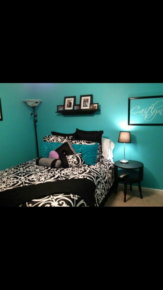 Black bedrooms turquoise and change to on pinterest - Black and turquoise bedroom ...