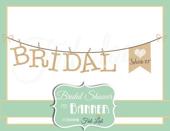 Bridal Shower Clipart, Banner, Digital Clipart, Rustic ...