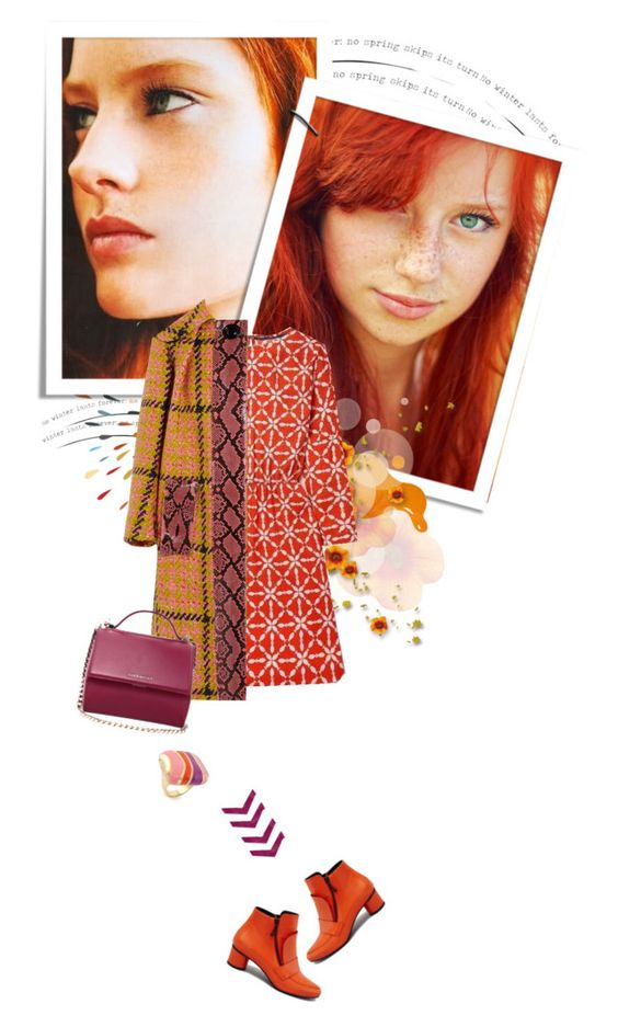 """""""The Beauty of Ginger"""" by grapecrush ❤ liked on Polyvore featuring Opening Ceremony, Boden, Miu Miu, Givenchy, Lauren G Adams, ankleboots, ginger, printdress, plaidcoats and fall2015"""