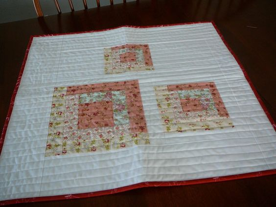 Floral Mini Quilt in Log Cabin Patchwork Design Table by shancee, $39.00