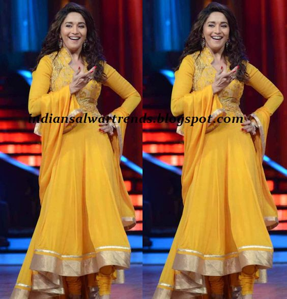 Latest Salwar and Designer Dresses: Madhuri dixit in yellow colour ...