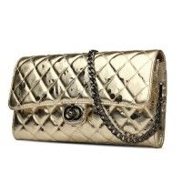 Gold Clutch Evening Bags Genuine Leather Shoulder Bags With Chains Women Purse Casual Messager Bag