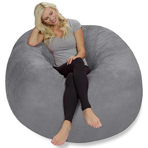 Chill Sack Bean Bag Chair Giant 5 Memory Foam Furniture Bean Bag Big Sofa With Soft Faux Linen Cover Linen Gray In 2020 Bean Bag Chair Bag Chair Cool Bean Bags