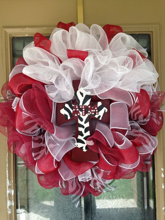 Texas A & M Theme Deco Mesh Wreath by SignsBYDebbieHess on Etsy, $50.00. My sister would love this!!!!