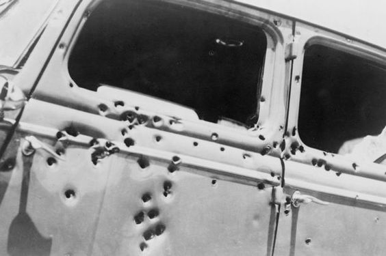 The end: Bonnie and Clyde's bullet-riddled car