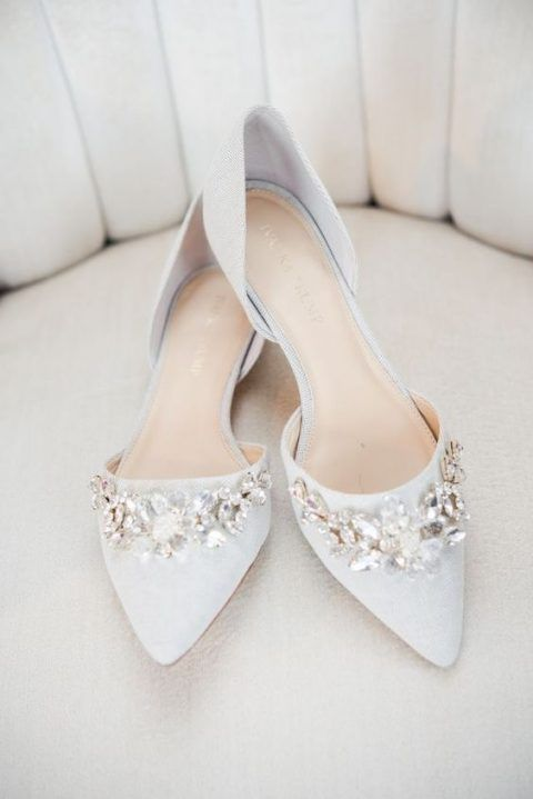 Flat romantic bridal shoes in 2020