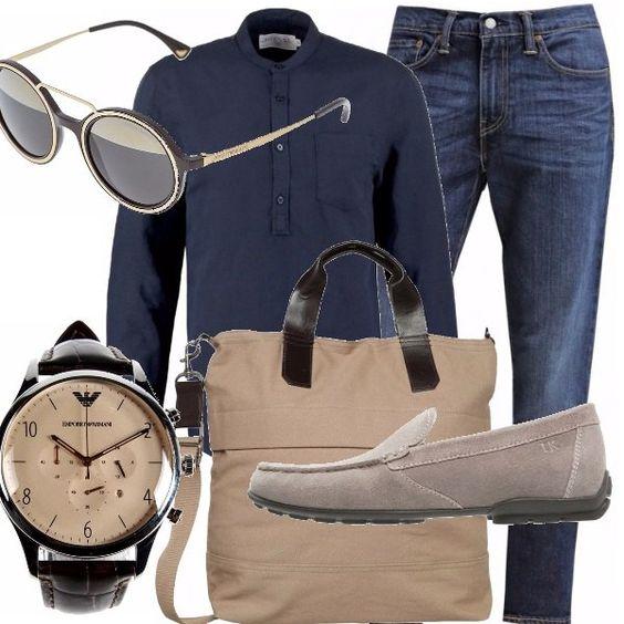 La camicia che vi propongo è blu navy, da indossare fuori dal denim e ad arrotolare le maniche, anche se vi va, per mettere in bella vista l'orologio che ho scelto per voi. L'occhiale è glamour come il mocassino Lumberjack.