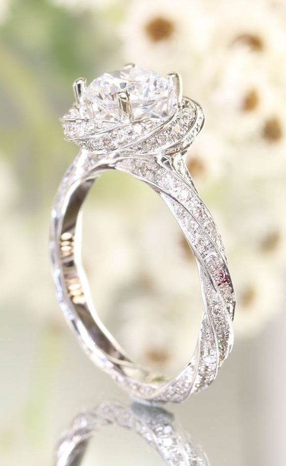 1 78 Carat Diamond Accents Twisted Flower Engagement Ring In 14k White Gold Over In Je Engagement Rings Twisted Flower Engagement Ring Wedding Rings Engagement
