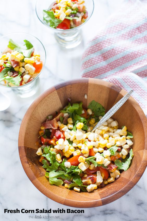 Fresh Corn Salad with Bacon from thelittlekitchen.net