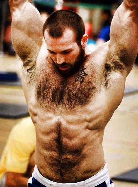 Gay peludo hombre cofre
