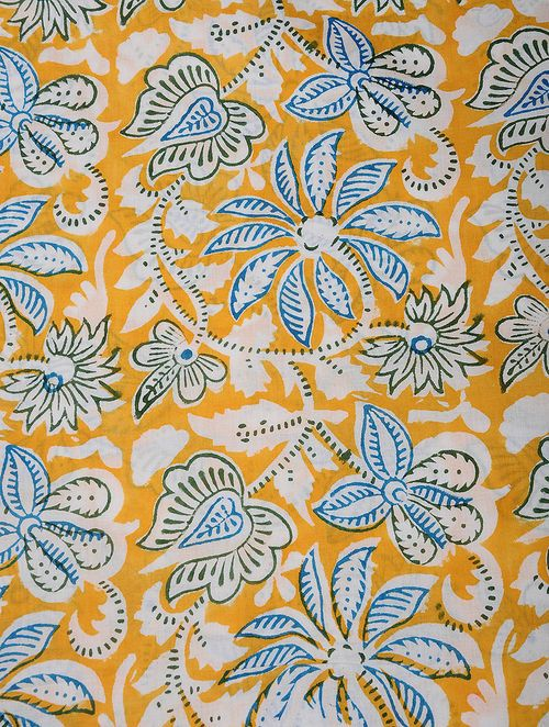 "Pure Indian Cotton Material Floral Pattern Yellow Fabric By The Yard 43/"" Wide"