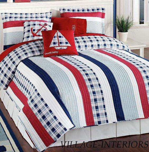 4pc Twin Quilt Set Nautical Red White Blue Stripe Cotton Quilt Sham Pillows Americananautical Nautical Bedding Sets Nautical Bedding Quilt Sets Bedding
