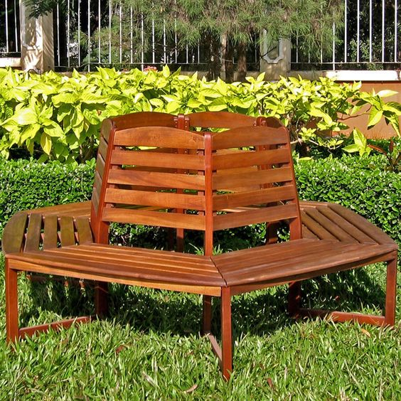 International caravan acacia sectional 6 sided tree trunk for Tree trunk garden bench