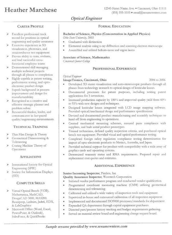 Resume  Engineering Resume Example Sample Engineering Resume - electronics engineering resume samples