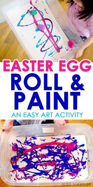 Easter Egg Roll and Paint - an easy Easter art activity for toddlers and preschoolers! This is such a simple way to paint with toddlers using Easter eggs.