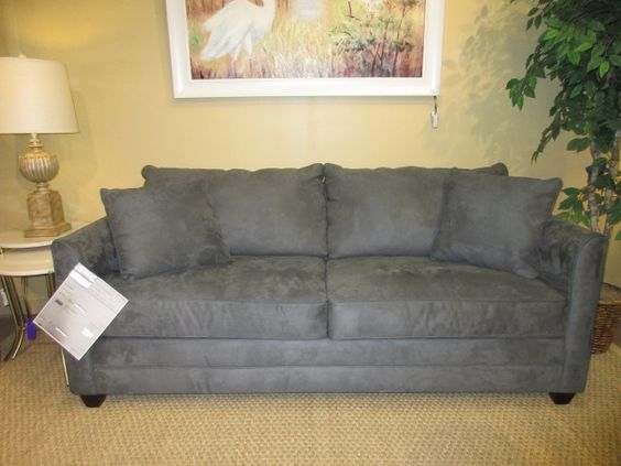 """The Maura queen sized sleeper sofa in a gray upholstery. Perfect for a contemporary or transitional style space. Gray is still such an in-demand color! Sits well too. 78""""long x 37""""deep x 33""""high. Arrived: Thursday September 1st, 2016"""