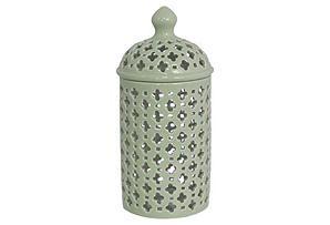 """11"""" Pierced Ceramic Jar, Mint"""