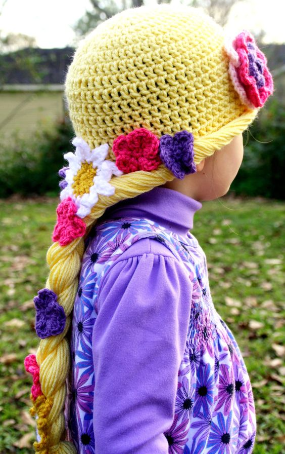 Rapunzel Crochet Beanie...size 3-6 Months, 6-12 Months, 1-2 Toddler, 2T and up, Adult....Great for your Disney Vacation. $25.00, via Etsy.: