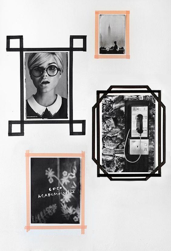 mooie fotowand met foto's, posters en washi tape