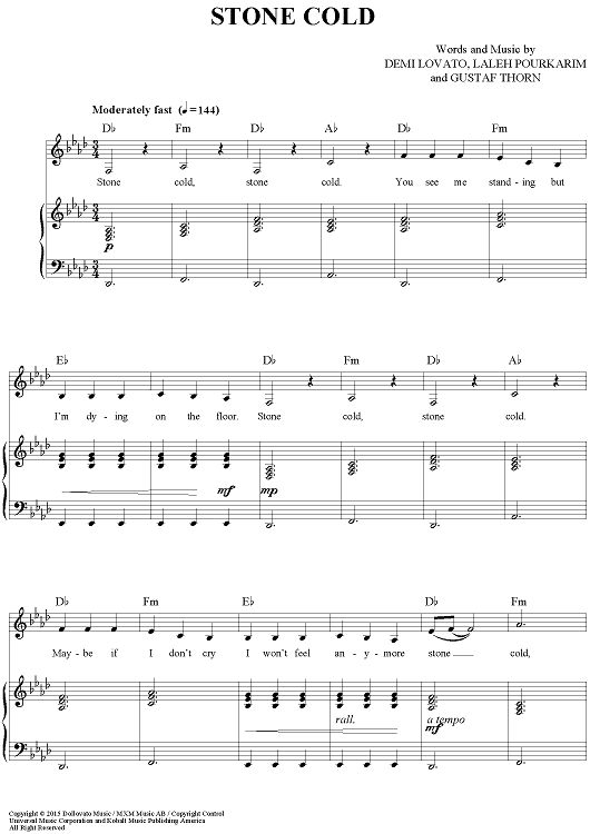 cold as ice sheet music pdf