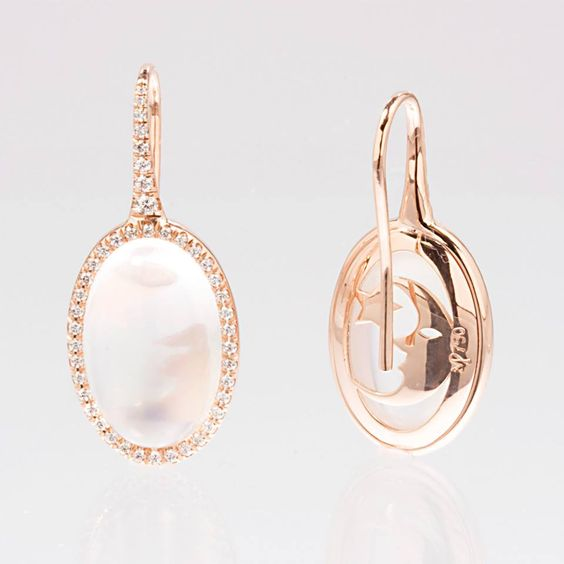 Mark Patterson beautiful Moonstone and Diamond Rose Gold Earrings for your Wedding day.