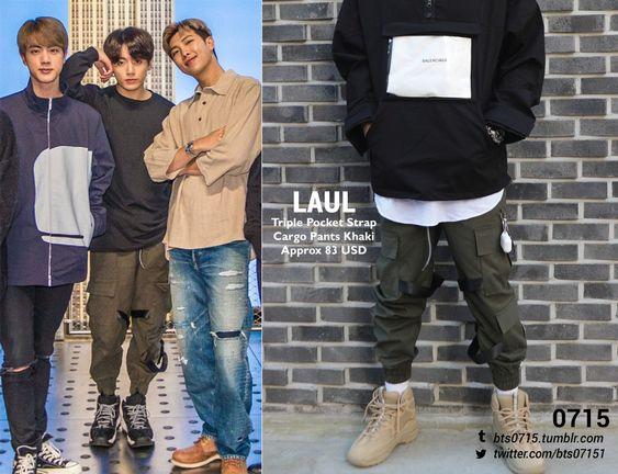 190521 | Jungkook : LAUL - Triple pocket strap cargo pants khaki // (x)