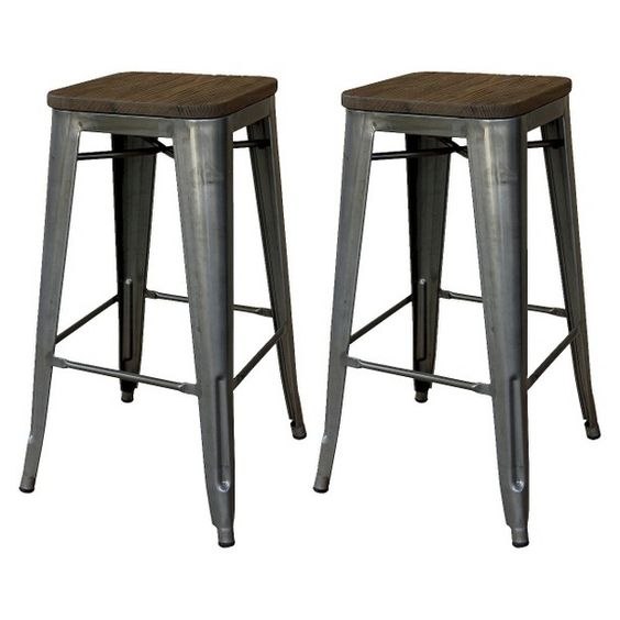 Hampden Industrial 24 Quot Counter Stool Natural Metal Set