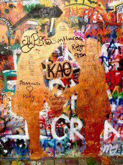 spotted in Prague on the John Lennon Wall