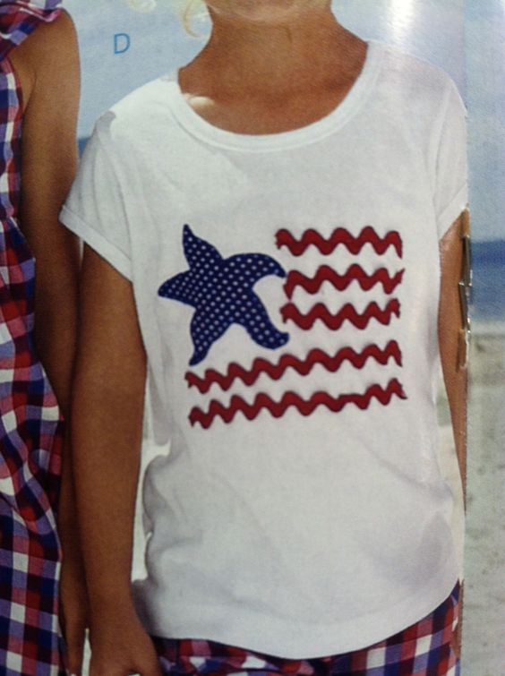 4th of July DIY bric-a-brac flag t-shirt