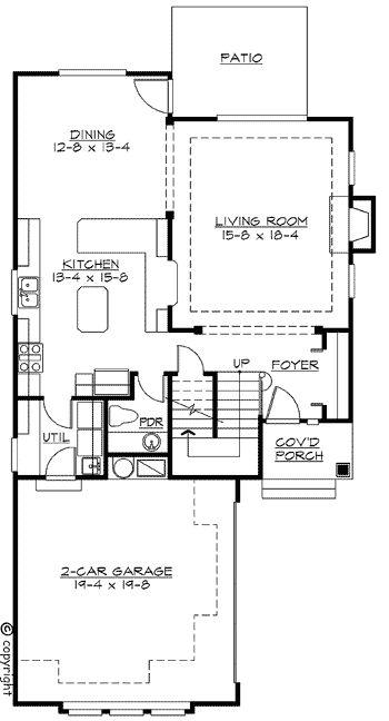 Plan 2300jd northwest house plan for narrow corner lot for Corner lot home plans