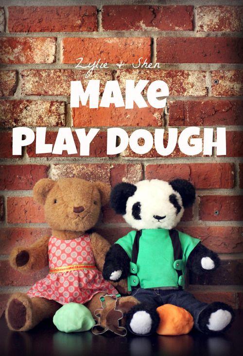 Make Play Dough with Zylie & Shen: Easy, Edible Homemade Play Dough Recipe! Click on http://blog.zyliethebear.com/post/61505965274/zylie-and-shen-make-playdough