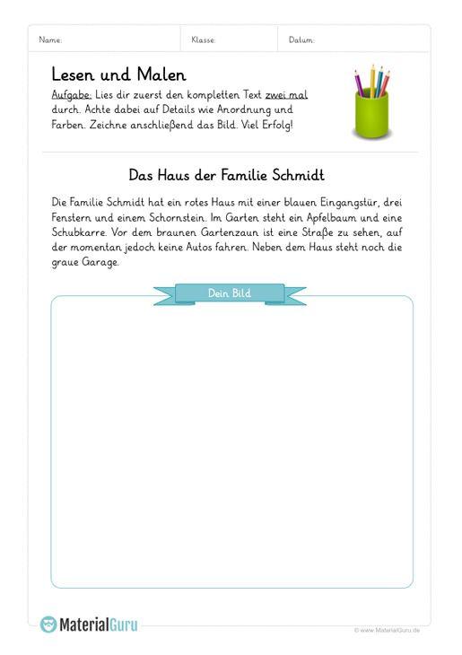 Arbeitsblatt Lesen Und Malen Langer Text 01 Lesen