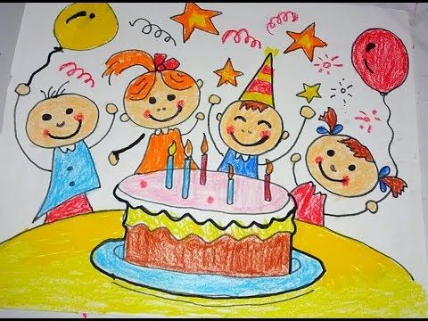 How To Draw Happy Birthday Drawing For Kids Youtube With Images