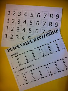 Place Value Battleship - looking forward to trying this!