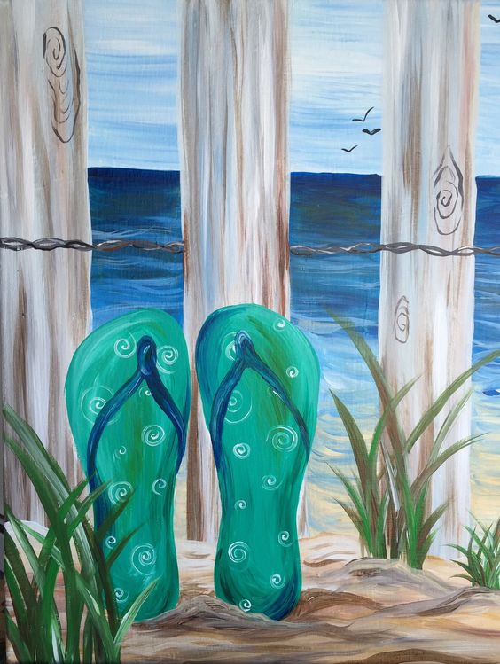 Flip Flop Canvas Paintings Google Search Crafts Painting Pinterest Plages Recherche