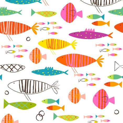 Rainbow fish fabric by redfish on spoonflower custom for Fish pattern fabric