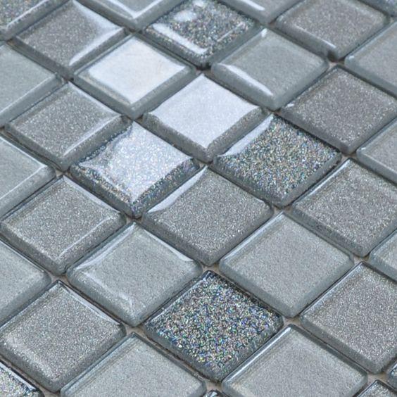 Crystal glass tile wholesale kitchen backsplash tile discount bathroom  mosaic grey wall tiles