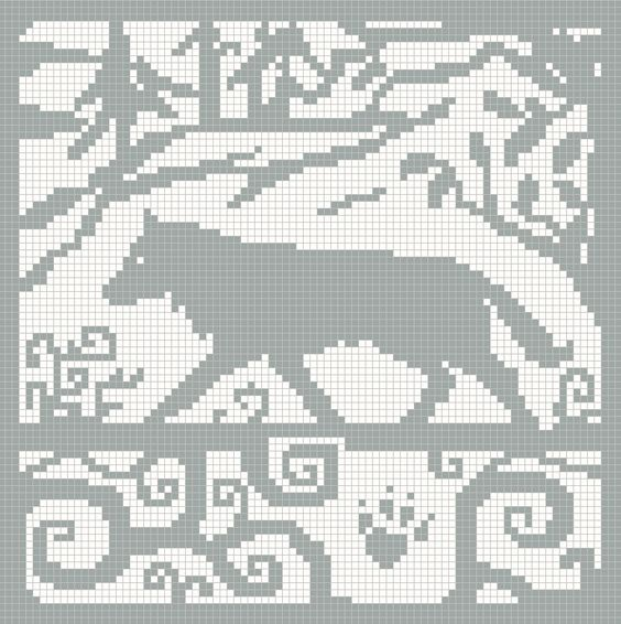 Wolf knitting chart... Possibly turn into a double sided knit blanket someday...