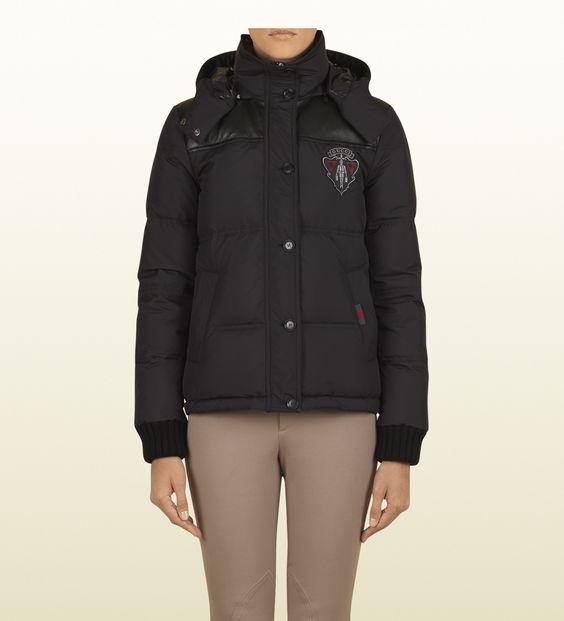 #gift Gucci giacca in piumino d'oca con gucci crest collezione equestrian nero